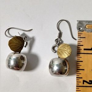 Vintage Jewelry - Vintage Artisan 925 Sterling apple dangle earrings